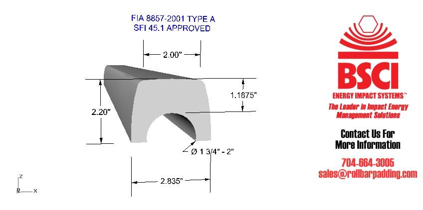 FIA Approved Roll Bar Padding Fits 1 1//8-1 1//2 bar diameter Black BSCI